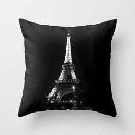 Paris Eiffel tower at night Throw Pillow