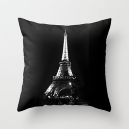 Paris Eiffel tower at night Throw Pillow
