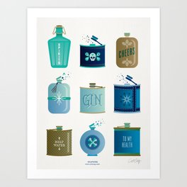 Flask Collection – Blue and Tan Palette Art Print