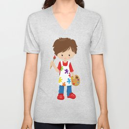 Cute Boy, Brown Hair, Painter, Paint Artist Unisex V-Neck