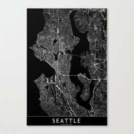 Seattle Black Map Canvas Print