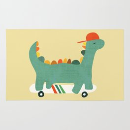 Dinosaur on retro skateboard Rug