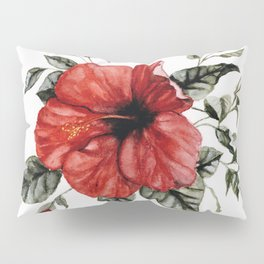 Blooming Red Hibiscus Pillow Sham
