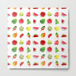 Cute colorful watercolor with watermelon, popsicles and palm leaves Metal Print