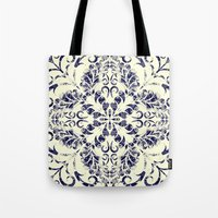 blueprint Tote Bags featuring Blueprint Flourish by wallcakes