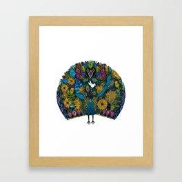 peacock garden white Framed Art Print