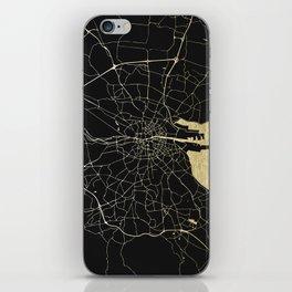 Dublin Ireland Black on Gold Street Map iPhone Skin