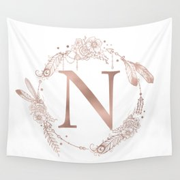 Letter N Rose Gold Pink Initial Monogram Wall Tapestry