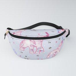 Cute Pastel Tone Elephants Stars Pattern Fanny Pack