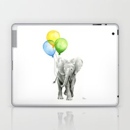 Elephant Watercolor Baby Animal with Balloons Blue Yellow Green Laptop & iPad Skin