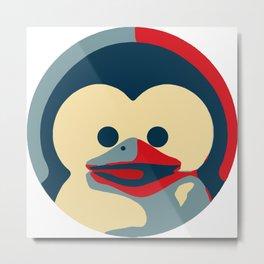 Linux tux penguin obama poster baby  Metal Print