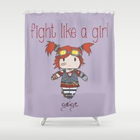 borderlands Shower Curtains featuring Fight Like a Girl - Borderlands 2 ~ Gaige by ~ isa ~