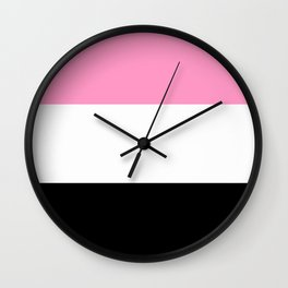 Just three colors 3 pink,white,black Wall Clock