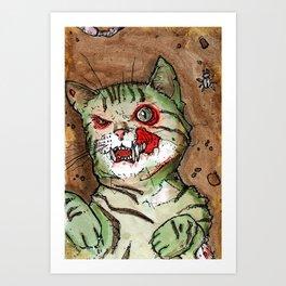 Green Snarly Zombie Cat Art Print