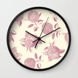 Big lush hydrangea flowers on off-white background seamless pattern. Pale pink. Atemporal, classic. Wall Clock
