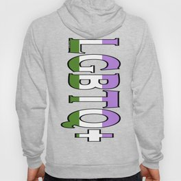 LGBTQ+ Font with Queer Flag Hoody