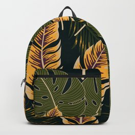 Botanical seamless tropical pattern with bright plants and leaves on a black background. Summer colorful hawaiian seamless pattern with tropical plants. Printing and textiles. Backpack