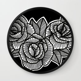 Line Work Rose Trio Wall Clock
