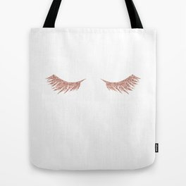 Pretty Lashes Rose Gold Glitter Pink Tote Bag
