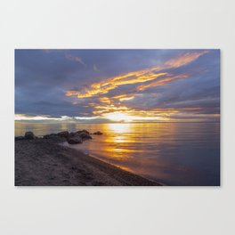 Dramatic Herbster, WI Lake Superior Beach Sunset Canvas Print
