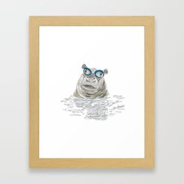 Hippo with swimming goggles Framed Art Print