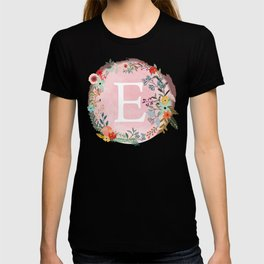 Flower Wreath with Personalized Monogram Initial Letter E on Pink Watercolor Paper Texture Artwork T-shirt