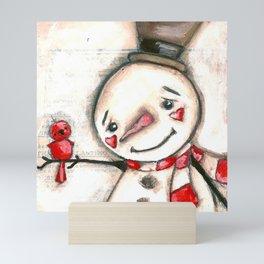 Red  Bird and Snowman - Christmas Holiday Art Mini Art Print