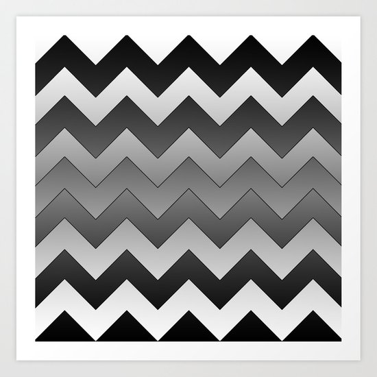Chevron Black to White Art Print