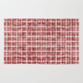 Dusty Pink Gingham Plaid Faux Suede Rug