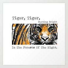 Tiger, Tiger, Burning Bright In The Forests Of The Night. Art Print
