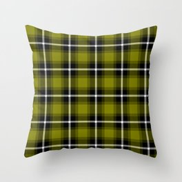 OLIVE (#808000) color themed SCOTTISH TARTAN Checkered Fabric Pattern texture background Throw Pillow