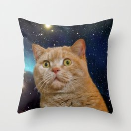 Cat staring at the universe Throw Pillow