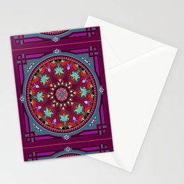 Boho Floral Crest Red and Purple Stationery Cards