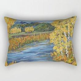 Autumn in the Mountains, Fall Decor, Aspen Birch Tree Painting Rectangular Pillow