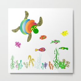 Sea turtle catching fish and algae Metal Print