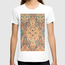 Geometric Leaves IX // 18th Century Distressed Red Blue Green Colorful Ornate Accent Rug Pattern T-shirt