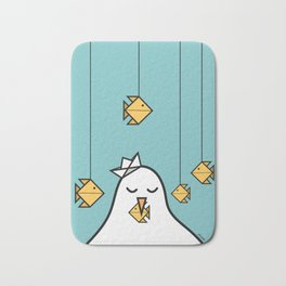 The Seagull and The Origami Fishes Bath Mat