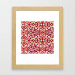 Crimson Floral Chirimen Framed Art Print