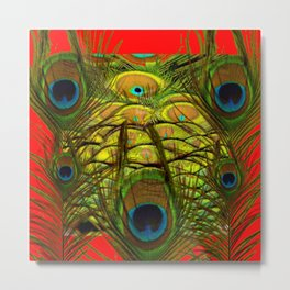 RED-GREEN PEACOCK FEATHERS ART Metal Print