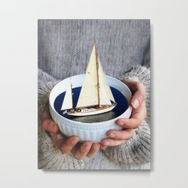 Ship in the bowl Metal Print