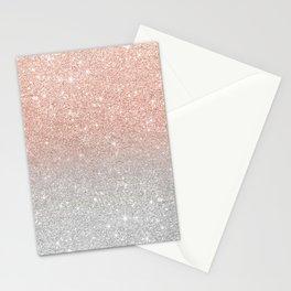 Modern trendy rose gold glitter ombre silver glitter Stationery Cards