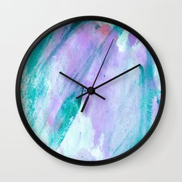 Modern lavender turquoise watercolor hand painted brushstrokes Wall Clock