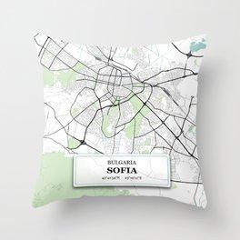 Sofia Bulgaria City Map with GPS Coordinates Throw Pillow