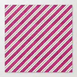 Neon pink faux gold glitter modern stripes pattern Canvas Print