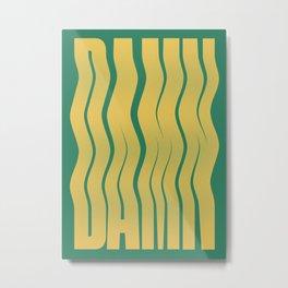 Damn - Wavy Typographic Poster Metal Print