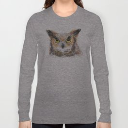 Owl Watercolor Great Horned Owl Painting Long Sleeve T-shirt