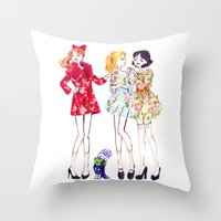 powerpuff girls Throw Pillows featuring Powerpuff girls getting classy by Maëlle Rajoelisolo