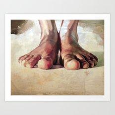Pensando con los pies Art Print