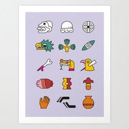 Aztec Writing Art Print