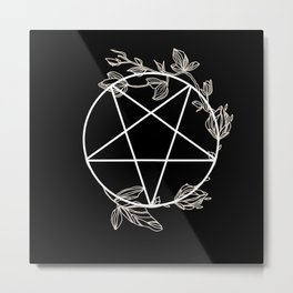 Pentagram with Plant Adornments - on black Metal Print